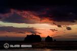 落日の親子岩